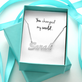 You Changed My World Silver Name Necklace Gift Boxed