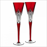 2016 Waterford Times Square Wonder Ruby Flutes, Pair
