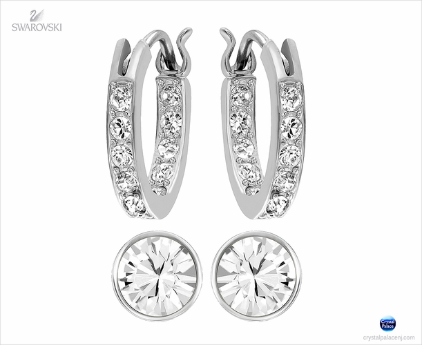 Swarovski Canvas Pierced Earrings Set rhodium
