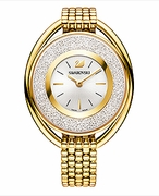 (SOLD OUT)  Crystalline Oval Gold Tone Bracelet Watch