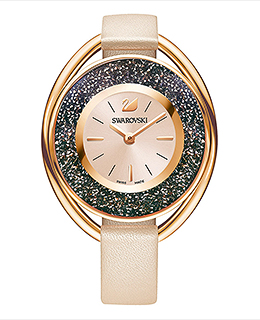 (SOLD OUT)  Crystalline Oval Watch,  Rose gold tone