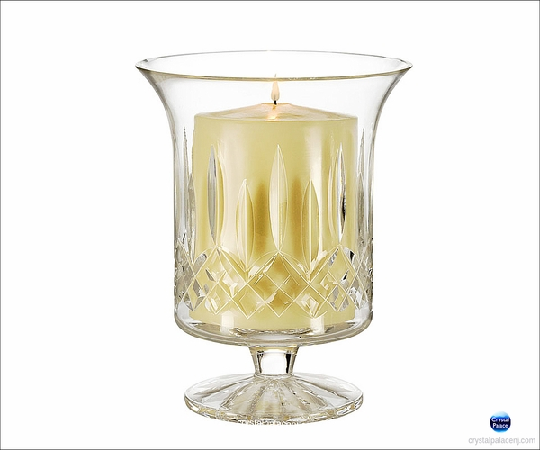 Waterford Lismore Footed Hurricane with Candle  6""