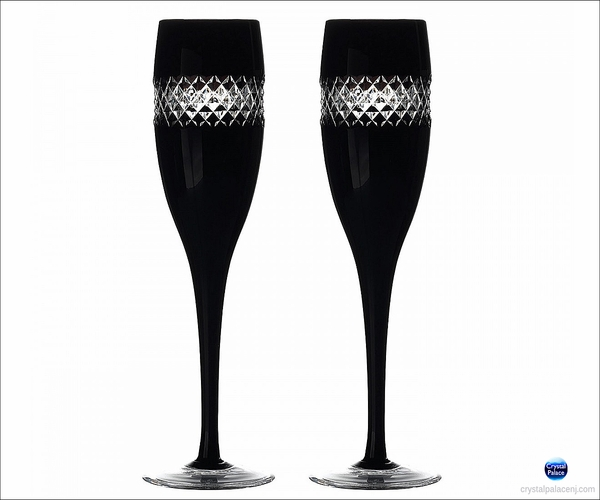 (SOLD OUT) John Rocha   Black Cut Champagne Flute, Pair