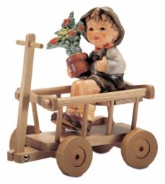 Love In Bloom Figurine With Wooden Cart