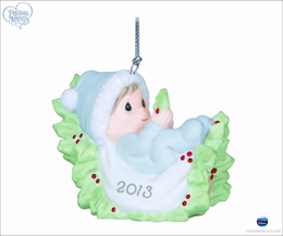 Precious Moments Baby's First Christmas - Dated 2013 Boy Ornament