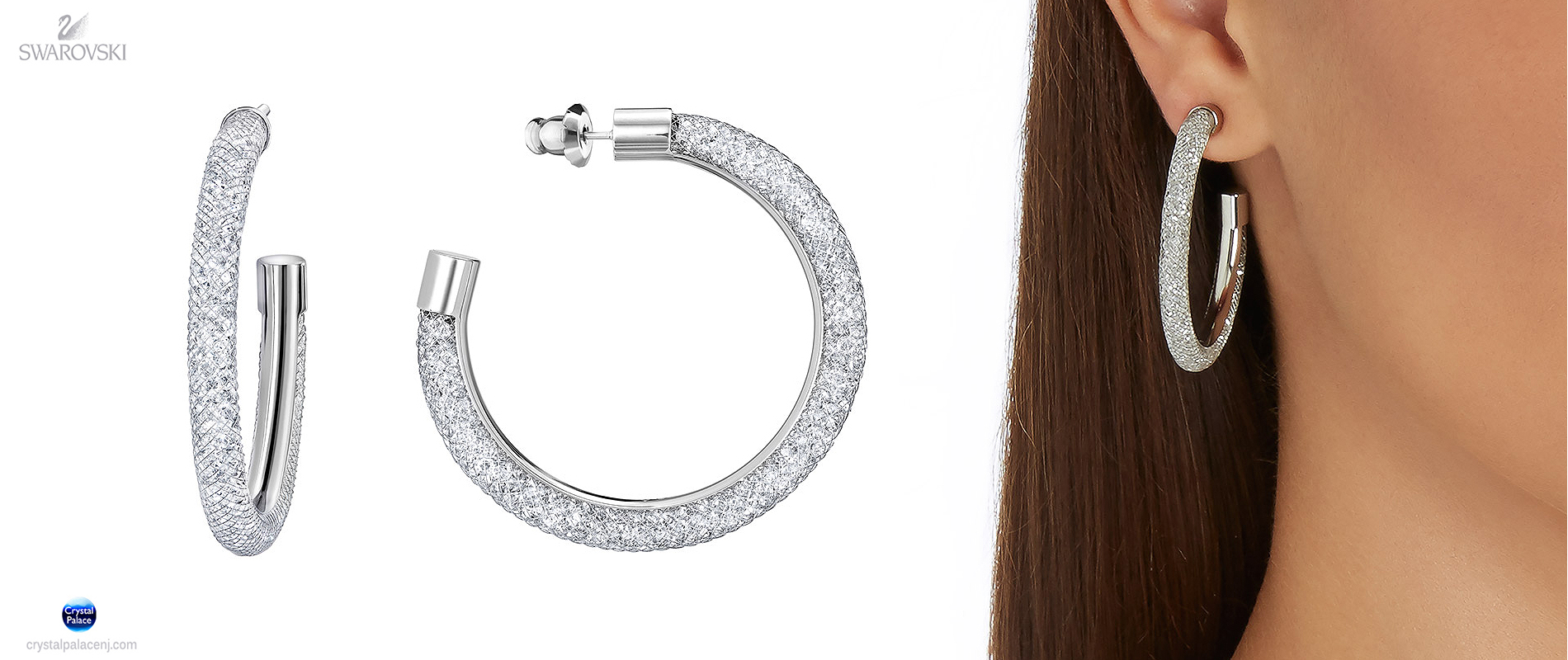 Swarovski Stardust Deluxe Hoop Pierced Earrings Crystal