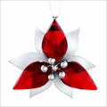 (SOLD OUT) Swarovski Poinsettia Ornament, Silver Tone