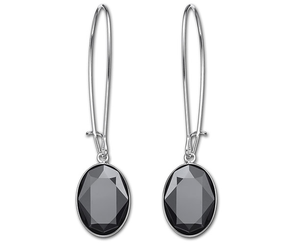 (SOLD OUT) Swarovski Puzzle Jet Hematite Pierced Earrings