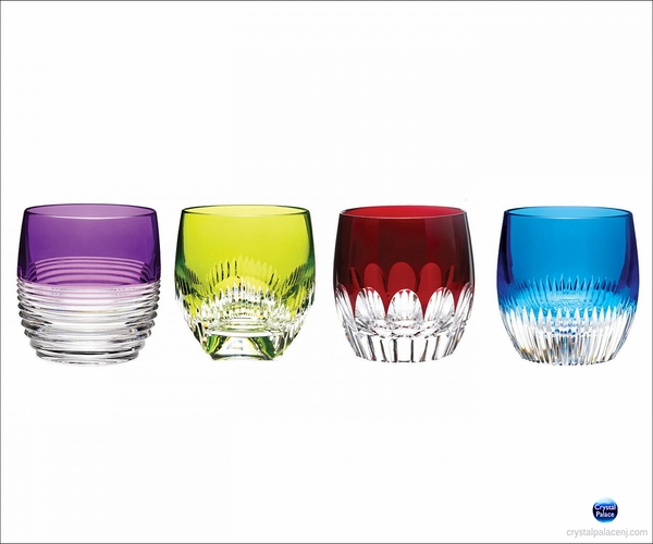 (SOLD OUT) Waterford Crystal   Mixology Double Old Fashioned Mixed Colors, Set of 4