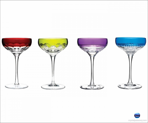 (SOLD OUT) Waterford Mixology Assorted Color Champagne Coupe, Set of 4