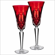"Waterford I Love Lismore ""Red"" Flute, Set of 2"