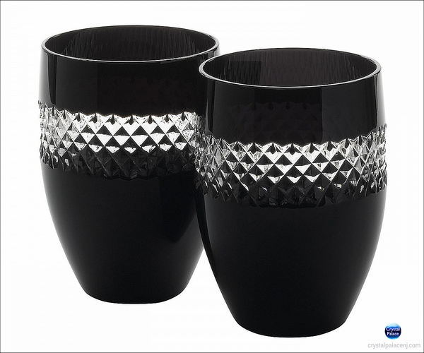 John Rocha Black Cut Tumblers, Pair