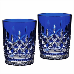 (SOLD OUT) Waterford  Lismore Cobalt Double Old Fashioned, Pair
