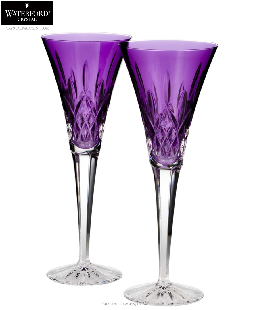 Waterford lismore jewels amethyst toasting flutes set of 2 - Waterford colored wine glasses ...