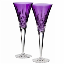 Waterford Lismore Jewels Amethyst Toasting Flutes, Set of 2