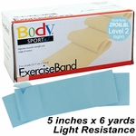 BodySport Level 2 Light Resistance Exercise Band, Light Blue 6 yds