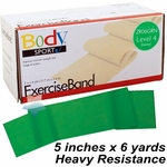 BodySport Level 4 Heavy Resistance Exercise Band, Green 6 yds