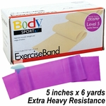BodySport Level 5 X-Heavy Resistance Exercise Band, Purple 6 yds