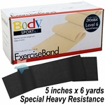 BodySport Level 6 Special Heavy Resistance Exercise Band, Black 6 yds