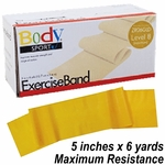 BodySport Level 8 Maximum Resistance Exercise Band, Gold 6 yds