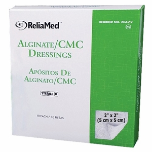 Calcium Alginate CMC Wound Dressings, by ReliaMed - Various Sizes