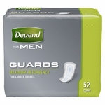 Depend Guards for Men (Case of 104), Maximum Absorbency