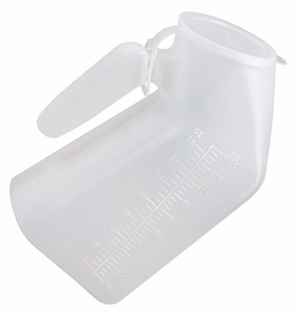 Male Urinal, Translucent with Lid, Case of 50
