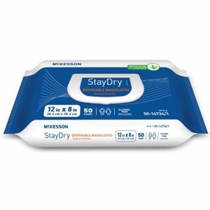McKesson StayDry Disposable Washcloths with Aloe, Adult Wet Wipes