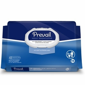 Prevail Disposable Adult Washcloths 48ct, Case of 12 Soft Packs (WW-710)