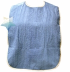 Salk Blue Terry Cloth Adult Bib with PVC Waterproof Barrier