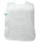Salk White Terry Cloth Adult Bib with PVC Waterproof Barrier
