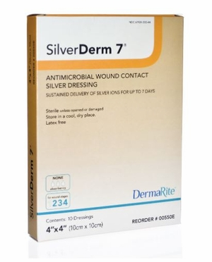 """SilverDerm 7 Silver Wound Contact Layer Dressing 4"""" x 4"""", # 00550E"""