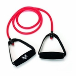 Valeo Exercise Resistance Tube Band with Handles, 4' Medium - Red