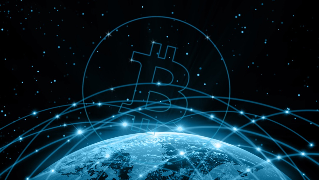 Bitcoin, Virtual Currency, Global representation of Bitcoin high-tech technology currency, ecommerce digital currency