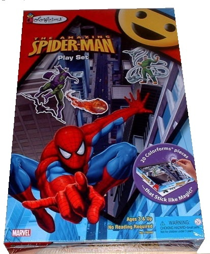 This toy named Amazing Spiderman Playset features officially licensed packaging by Colorforms.