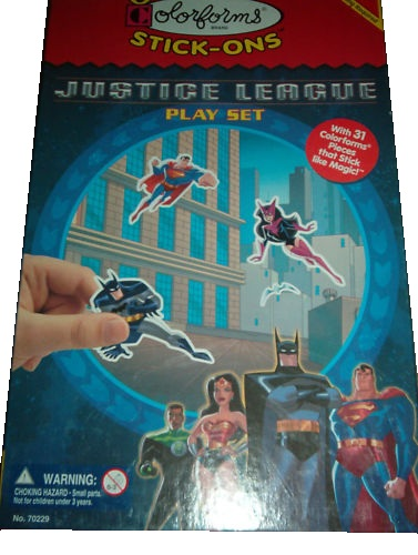 This toy named Justice League Playset features officially licensed packaging by Colorforms.