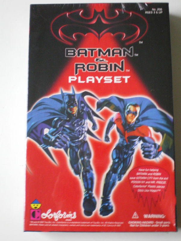 This toy named Original Batman and Robin Playset features officially licensed packaging by Colorforms.