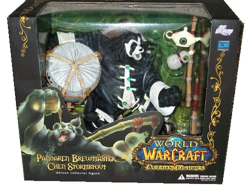 This action figure toy named Pandaren Brewmaster Chen Stormstout features officially licensed packaging by DC Direct World of Warcraft Limited Edition.