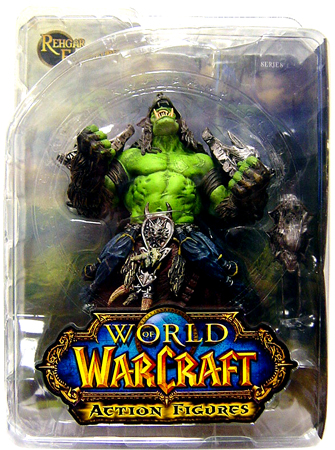 This action figure toy named Orc Shaman Rehgar Earthfury features officially licensed packaging by World of Warcraft DC Direct.
