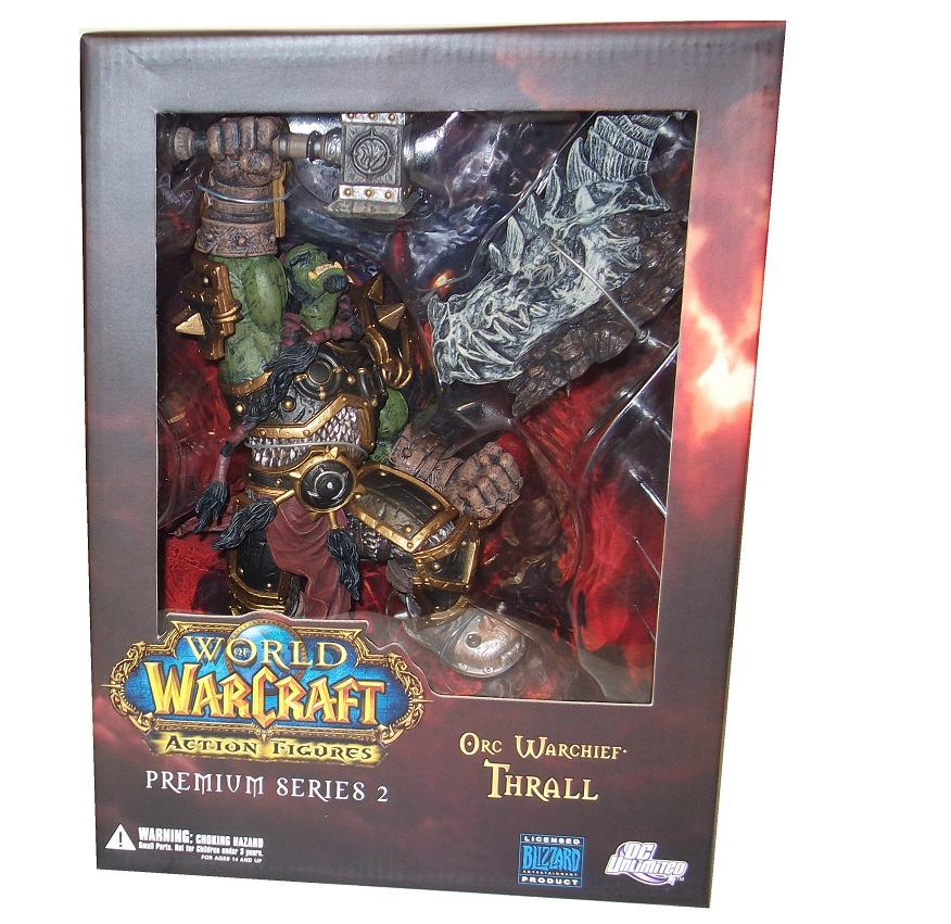 This action figure toy named Orc Warchief Thrall features officially licensed packaging by DC Direct World of Warcraft Premium.