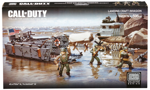 Military themed toy set featuring a landing craft invasion.
