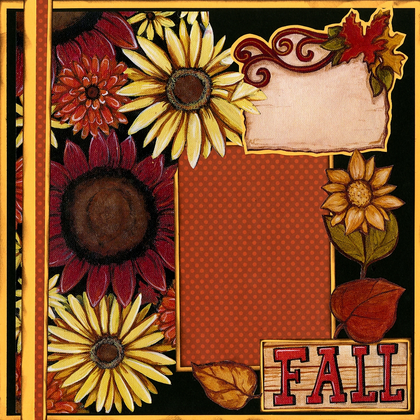 Fall Flowers - Quick Pages Set - Left & Right