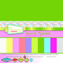 Secret Garden Cardstock Colorpack - 30 heavyweight sheets in 10 vibrant colors
