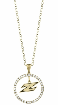 Akron Zips Gold and Diamond Circle Pendant