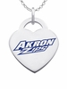 Akron Zips Logo Heart Pendant With Color