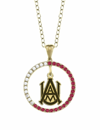 Alabama A&M Bulldogs Ruby and Diamond Necklace