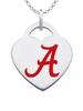 Alabama Crimson Tide Logo Heart Pendant With Color