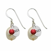 Alpha Chi Omega Color and Cultured Freshwater Pearl Earrings