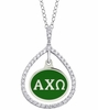 Alpha Chi Omega CZ Tear Drop Necklace