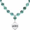 Alpha Chi Omega Heart and Turquoise Necklace